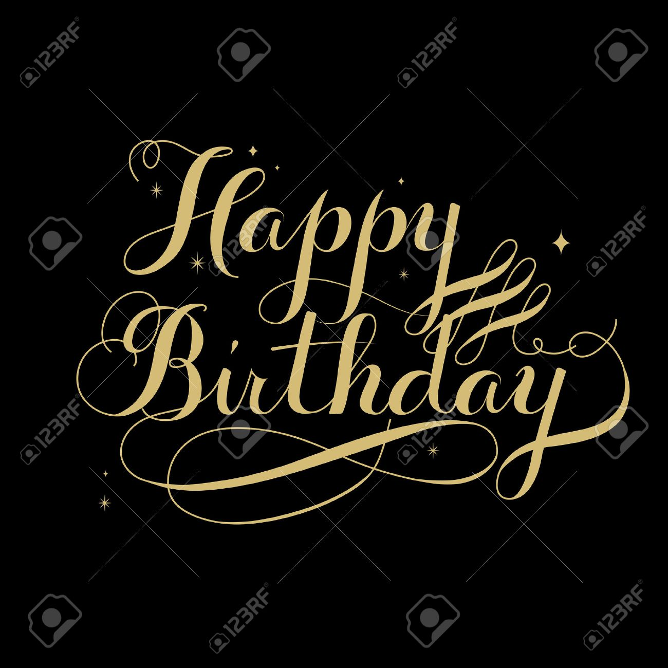 Elegant Happy Birthday Calligraphy Design Over Black Background