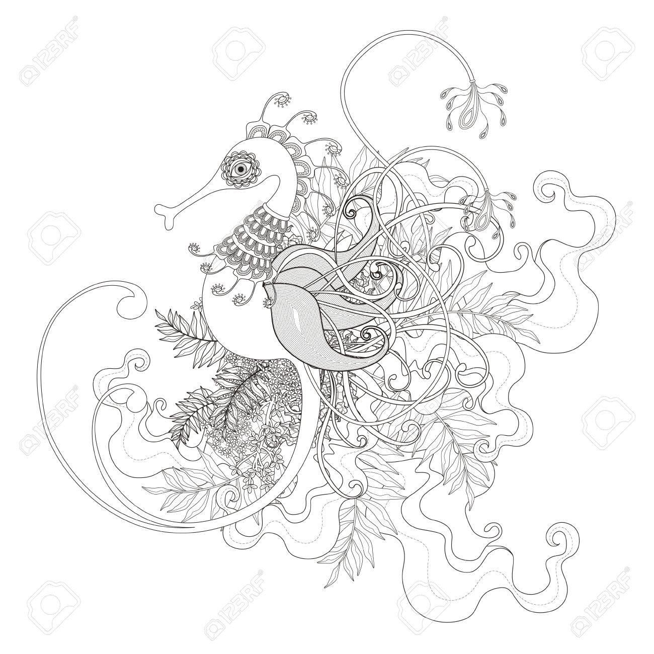 Coloriage Hippocampe.Exquise Coloriage Hippocampe Avec Des Elements De Plantes