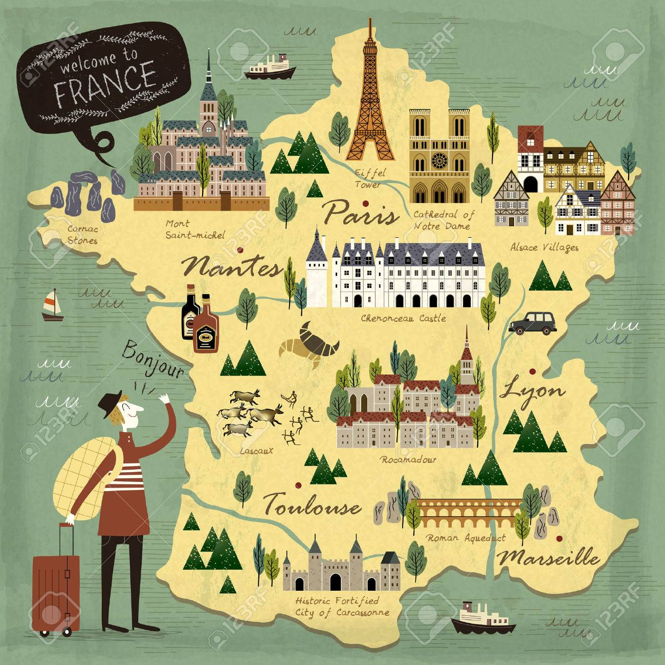 Map Of France Tourist Attractions.France Travel Concept Illustration Map With Attractions