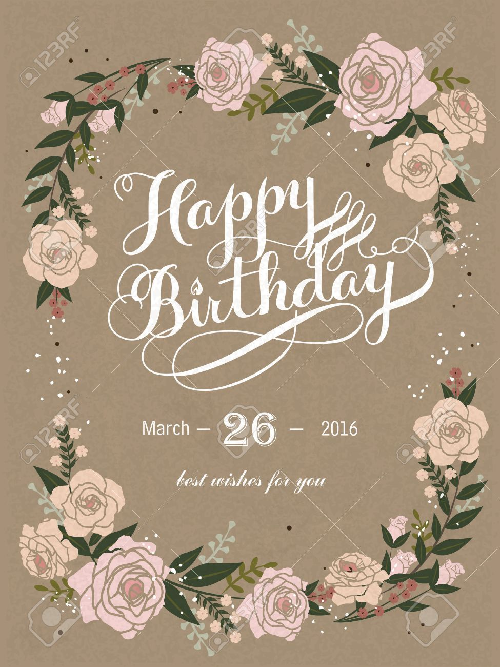 B day poster designs - Romantic Happy Birthday Calligraphy And Poster Design With Floral Elements Stock Vector 51191773