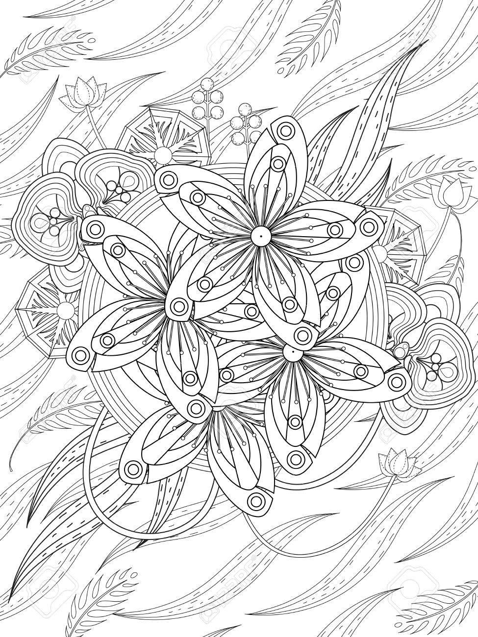 Atractivo Desafiante Flor Para Colorear Adorno - Dibujos Para ...