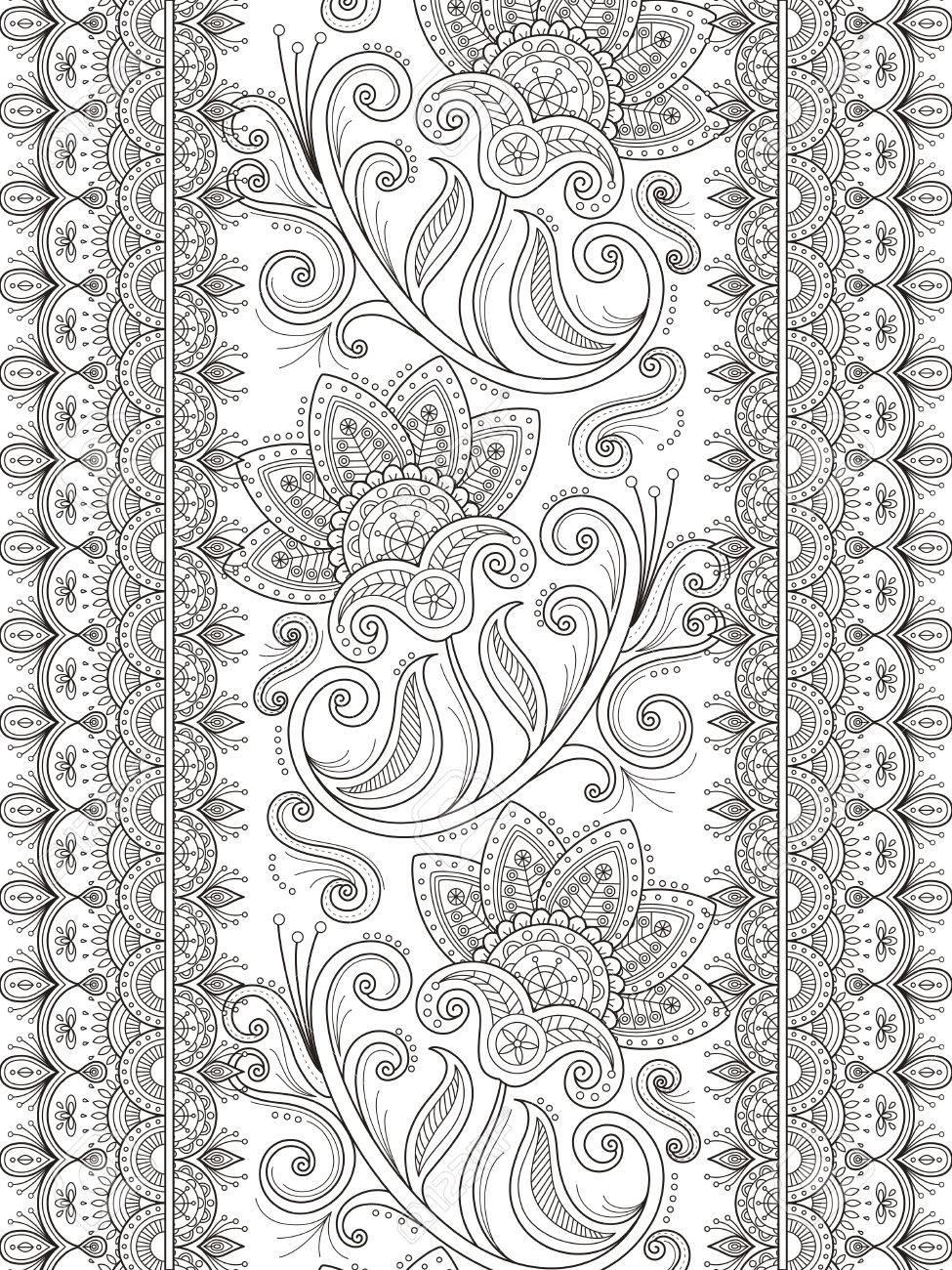Diseño De Páginas Para Colorear Flor Elegante En Línea Exquisita ...