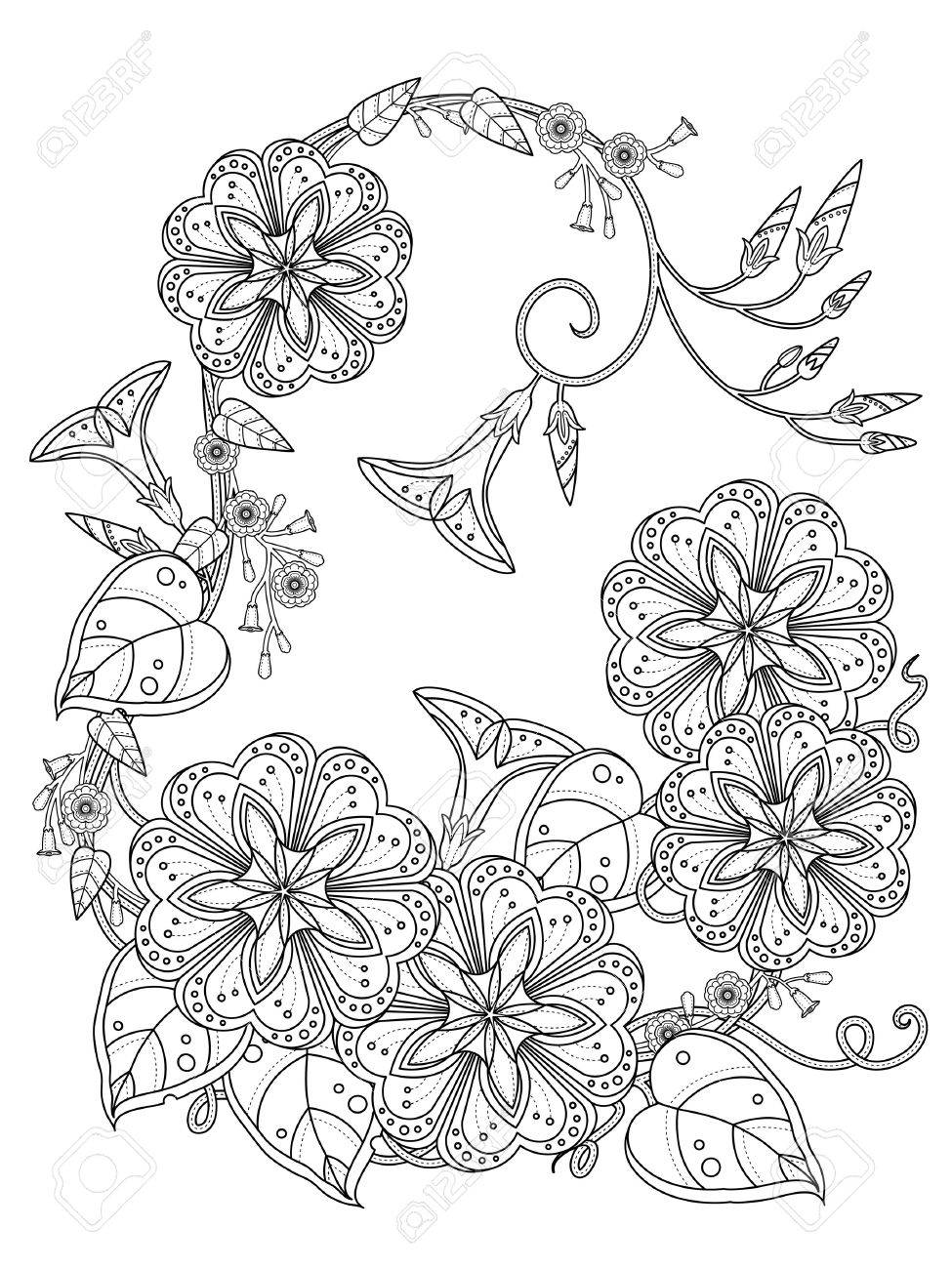 elegant morning glory coloring page in exquisite line stock vector 51592141