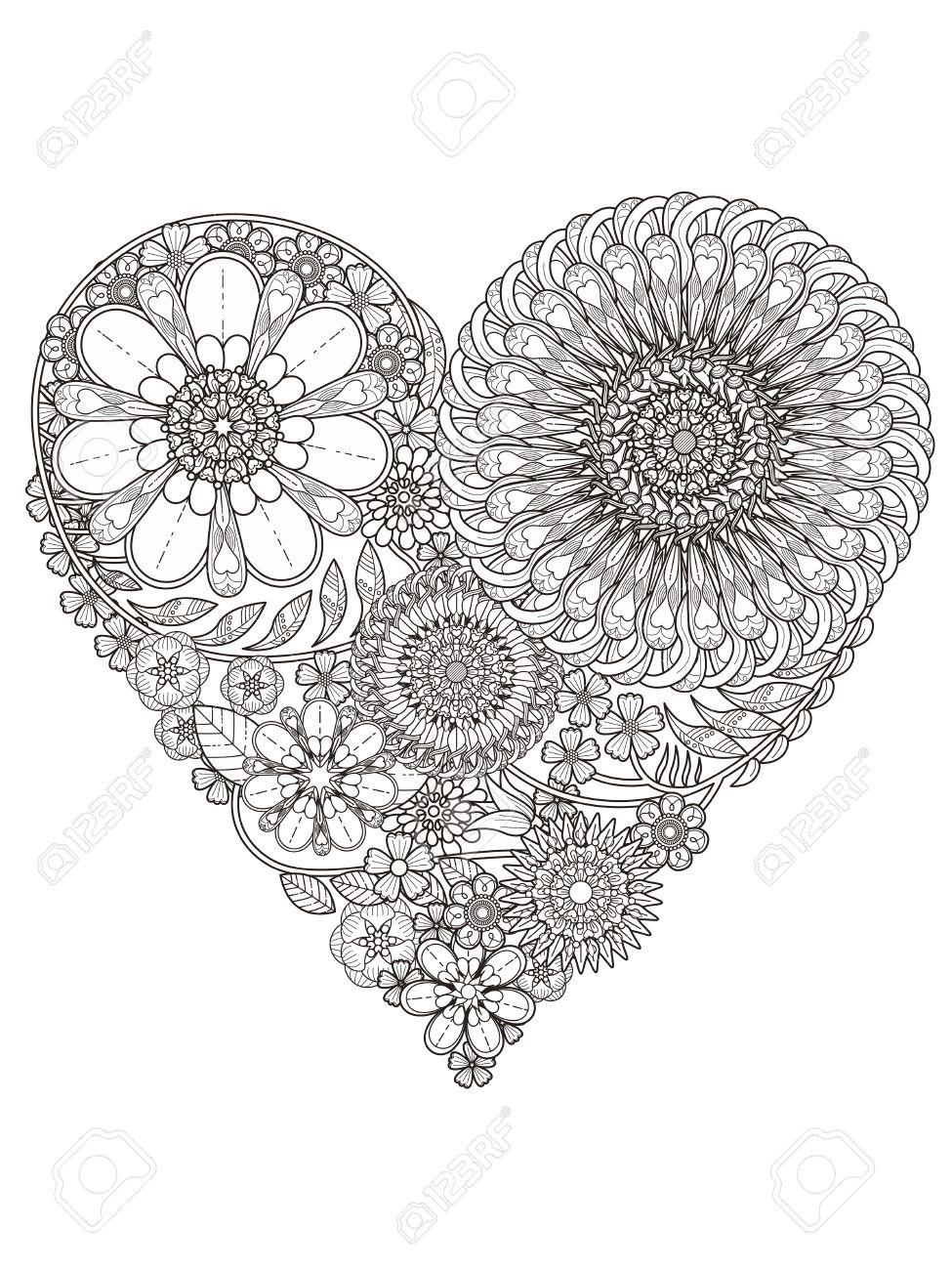 Creativa Para Colorear De Flores En Forma De Corazón Ilustraciones ...