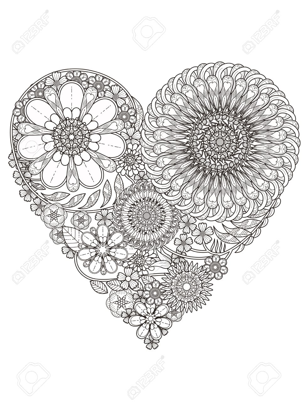 Creative Floral Coloring Page In Heart Shape Royalty Free Cliparts ...