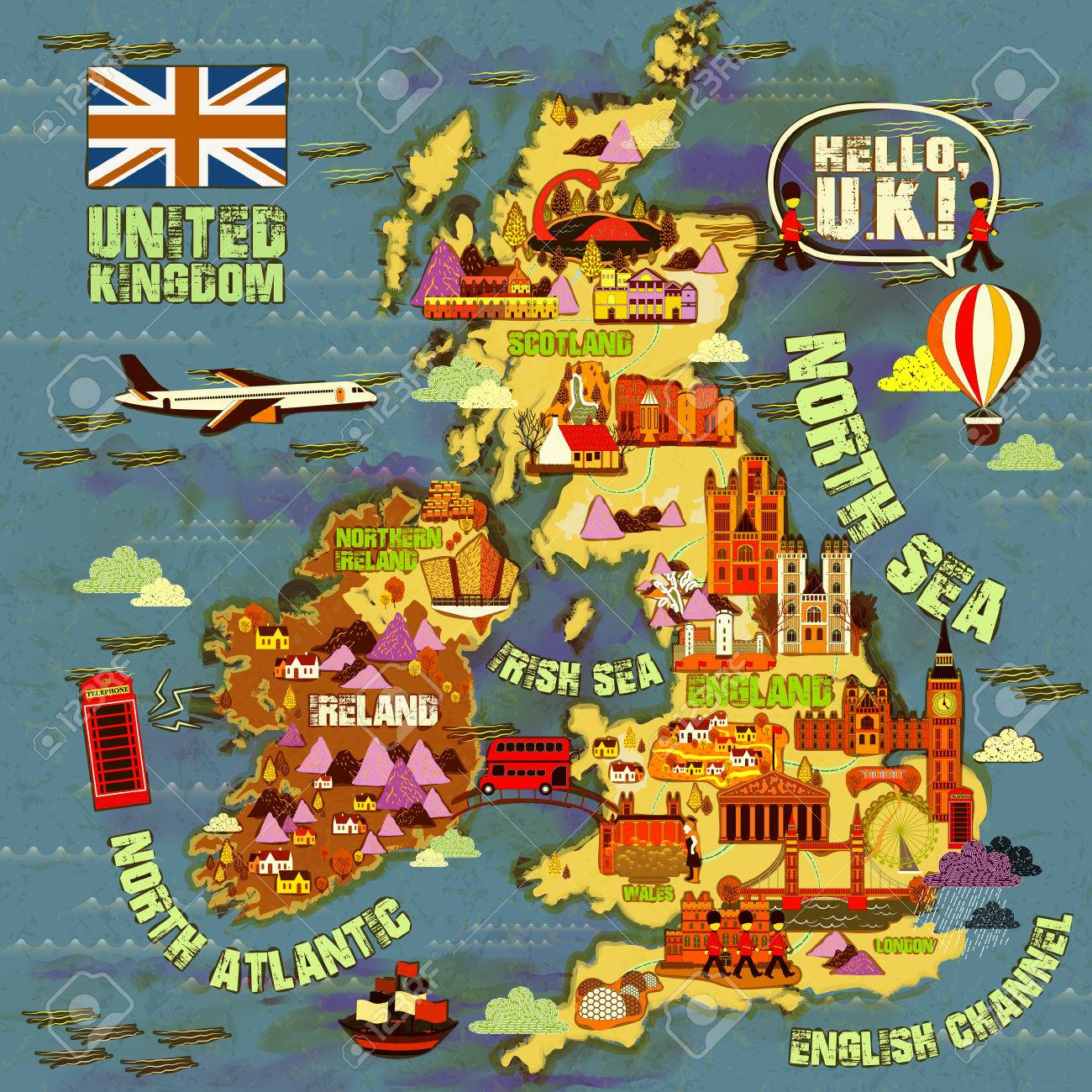 Lovely United Kingdom Travel Map With Attractions Icon Royalty Free Cliparts Vectors And Stock Illustration Image 52654796