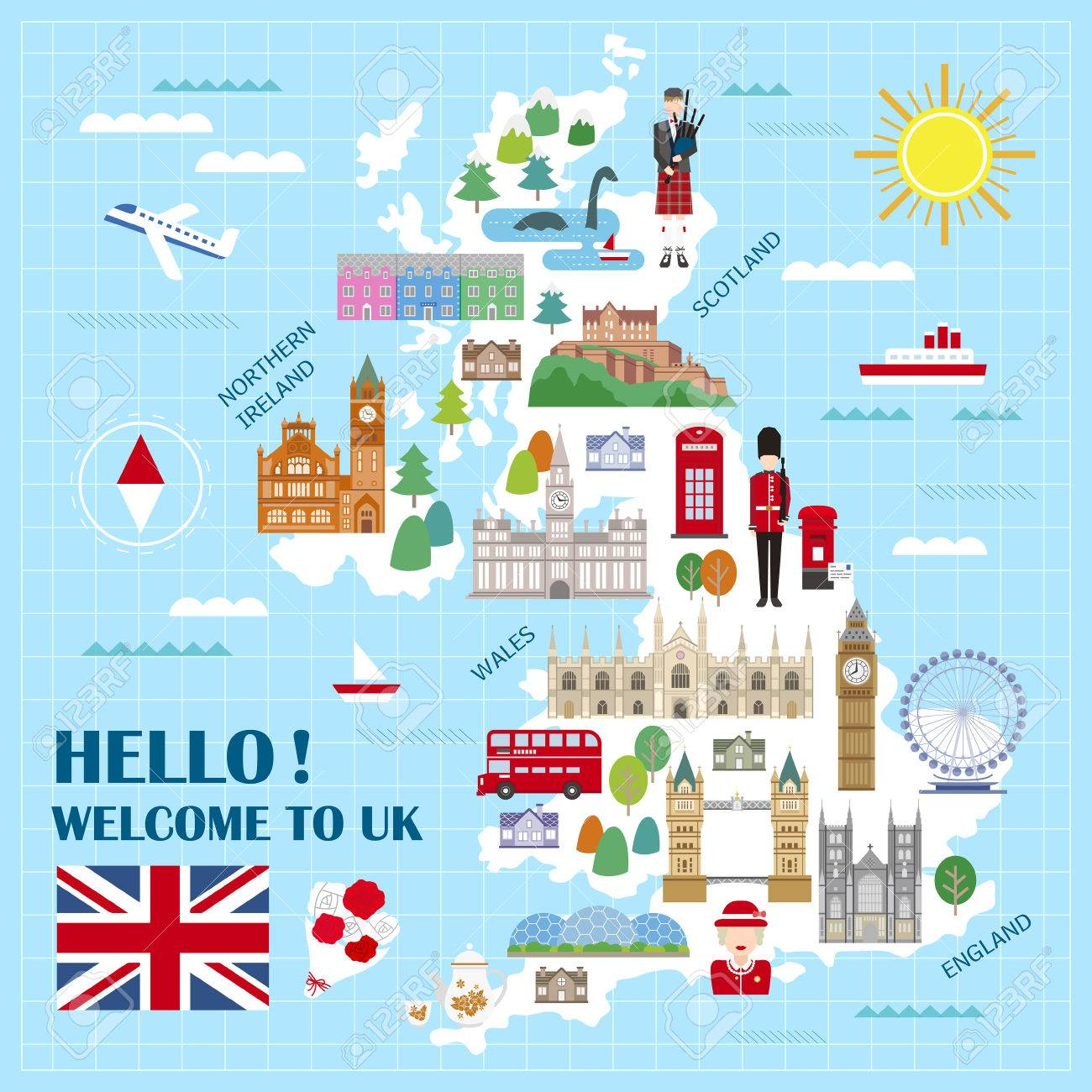 lovely united kingdom travel map with attractions stock vector 52655196