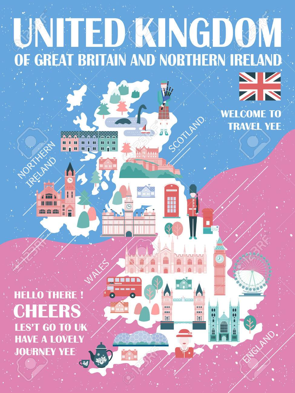 lovely united kingdom travel map with attractions stock vector 52655215