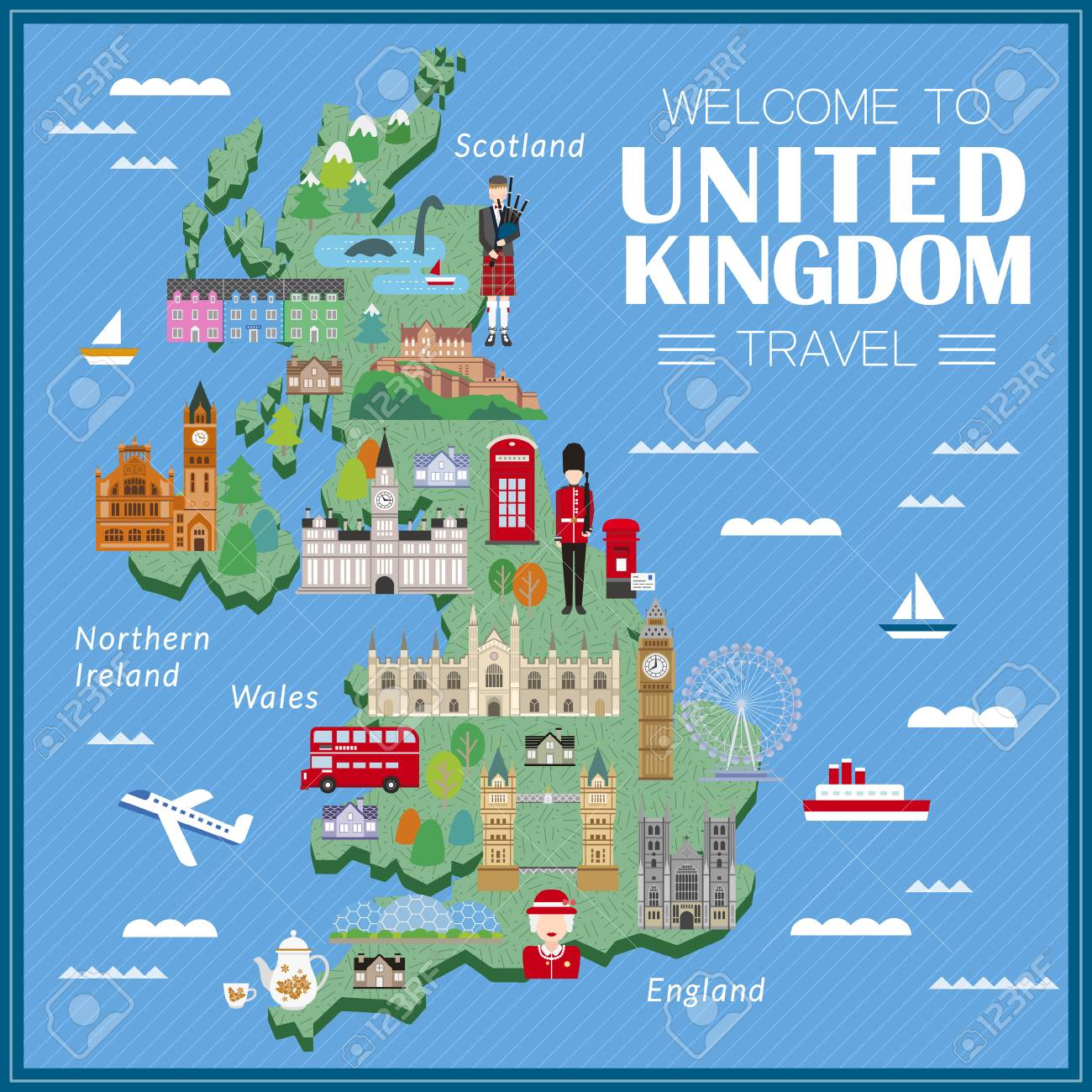 lovely United Kingdom travel map with attractions - 52655213