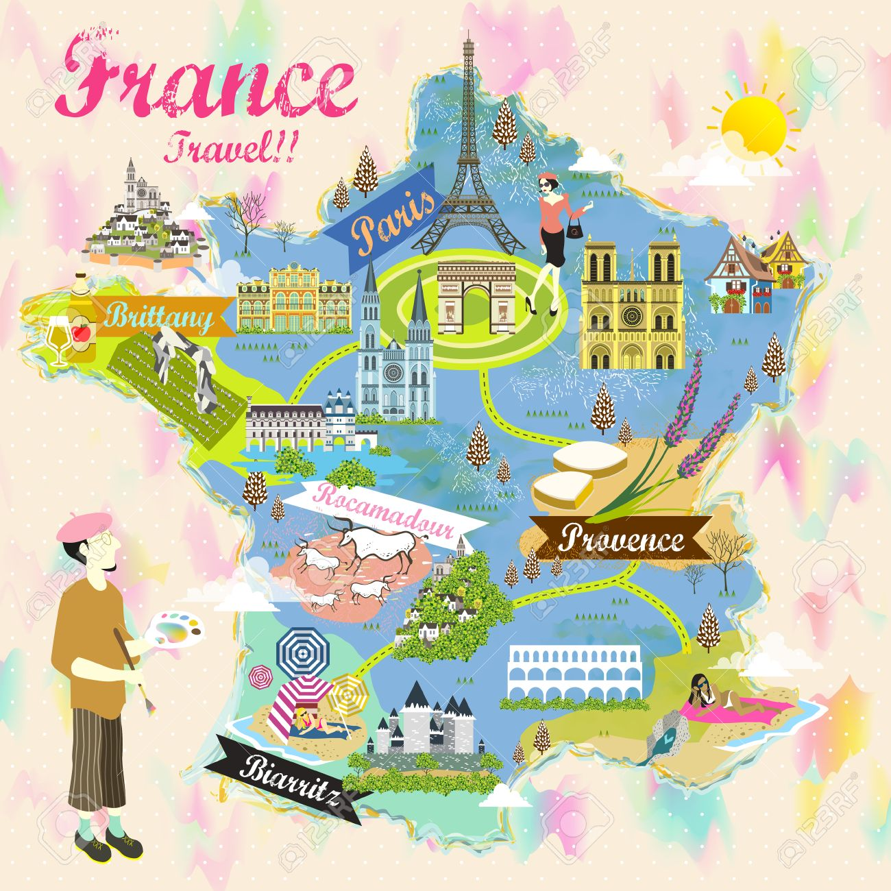 Travel Map Of France.Romantic France Travel Map With Attraction Symbols Royalty Free