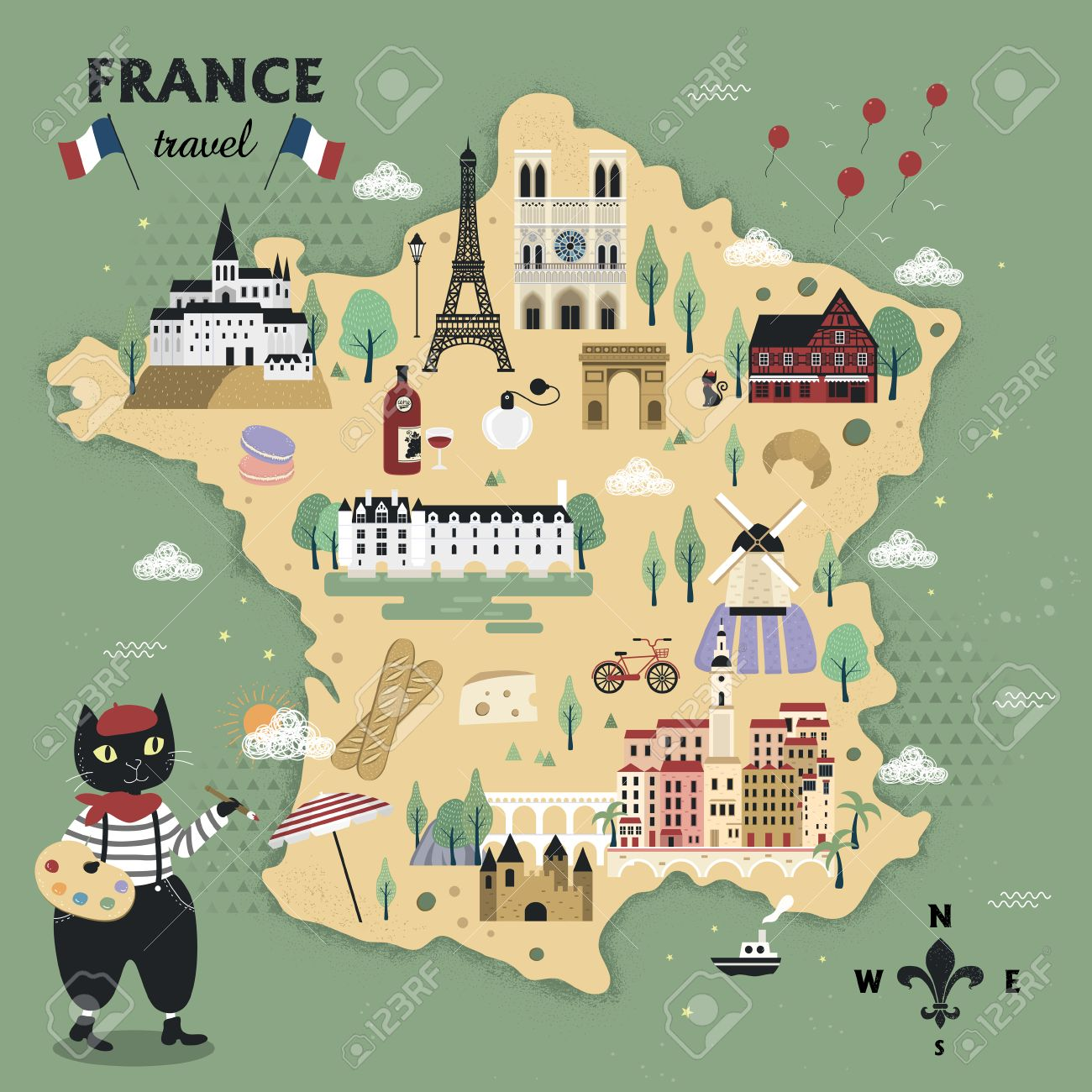 Travel Map Of France.Adorable France Travel Map Design With Cats And Famous Attractions