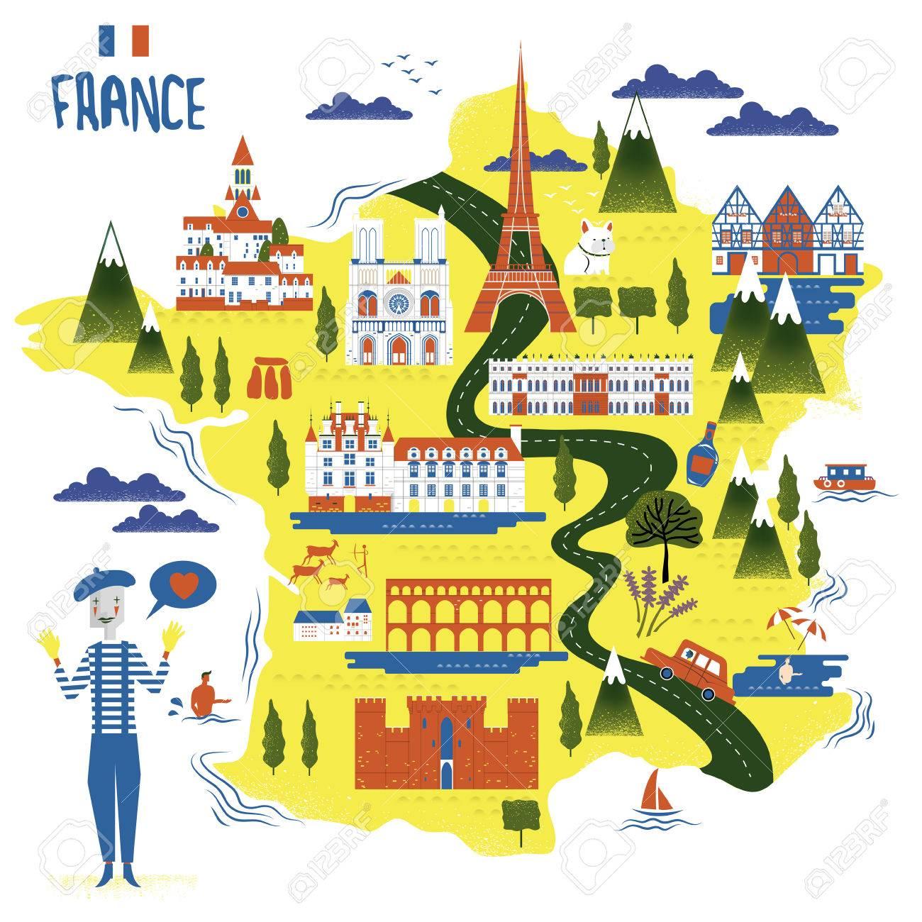 Cartina Della Francia Con Monumenti.Vettoriale Adorabile Francia Mappa Con Attrazioni E Specialita Image 53715725
