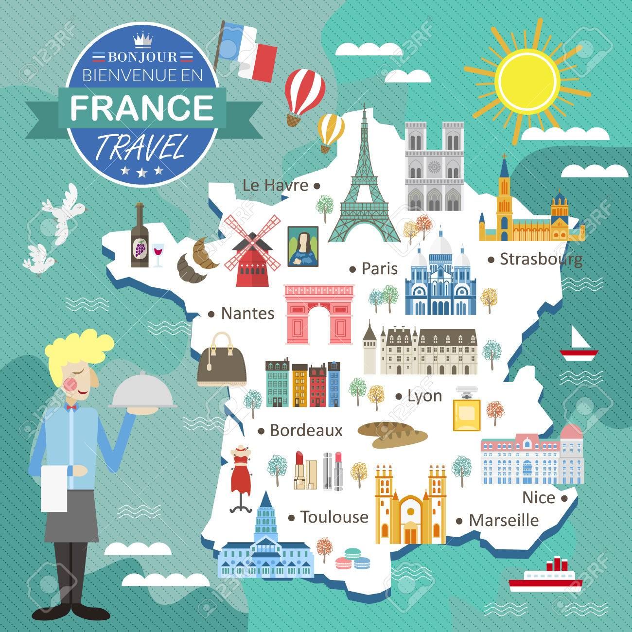 Cartina Della Francia Con Monumenti.Vettoriale Attraente Francia Mappa Con Attrazioni E Specialita Image 53715735