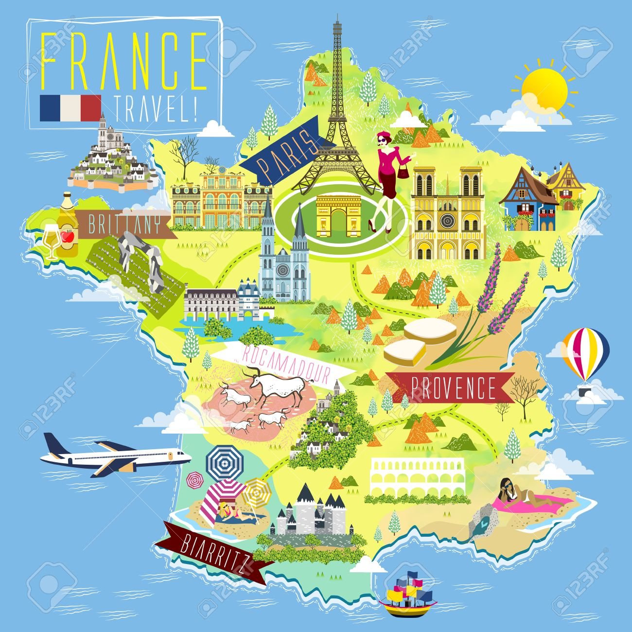 Travel Map Of France.Lovely France Travel Map With Attraction Symbols Royalty Free