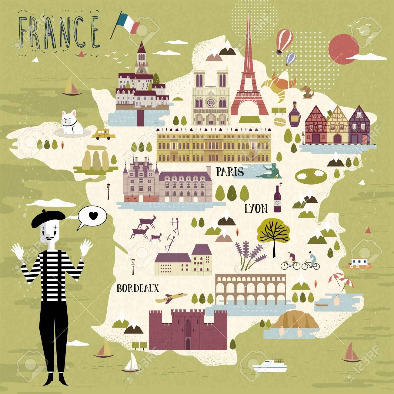 Cartina Della Francia Con Monumenti.Vettoriale Adorabile Francia Mappa Con Attrazioni E Specialita Image 53715747