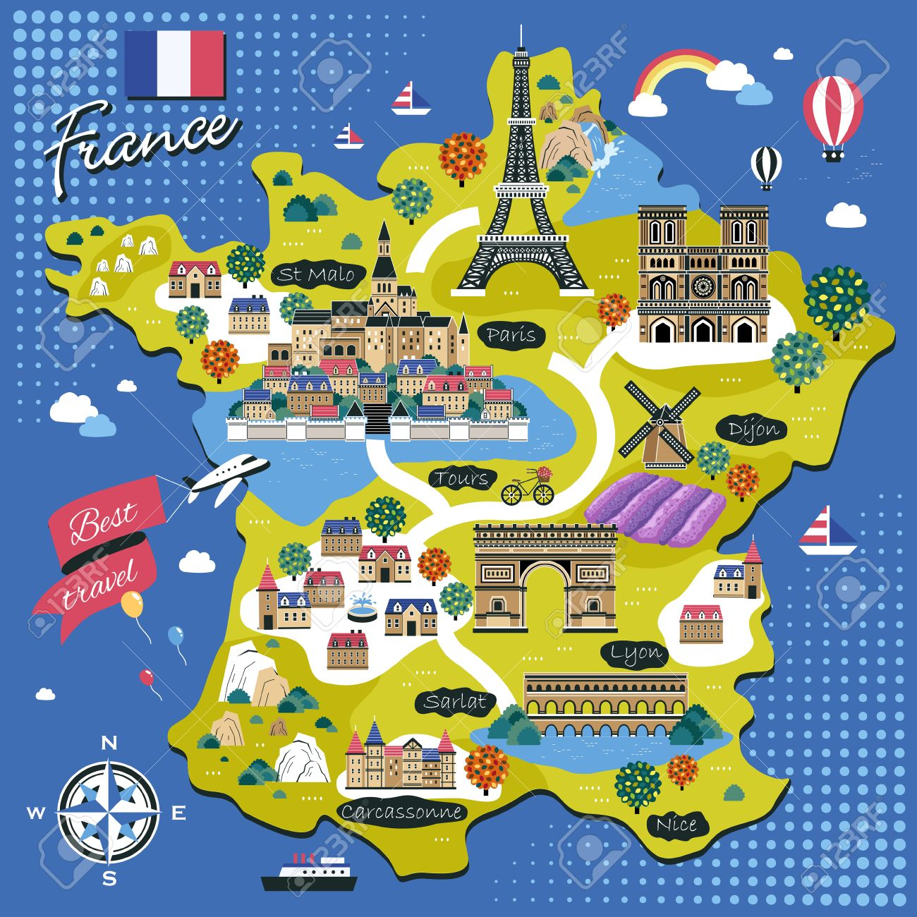 Travel Map Of France.Attractive France Travel Map With Attractions In Flat Design Royalty