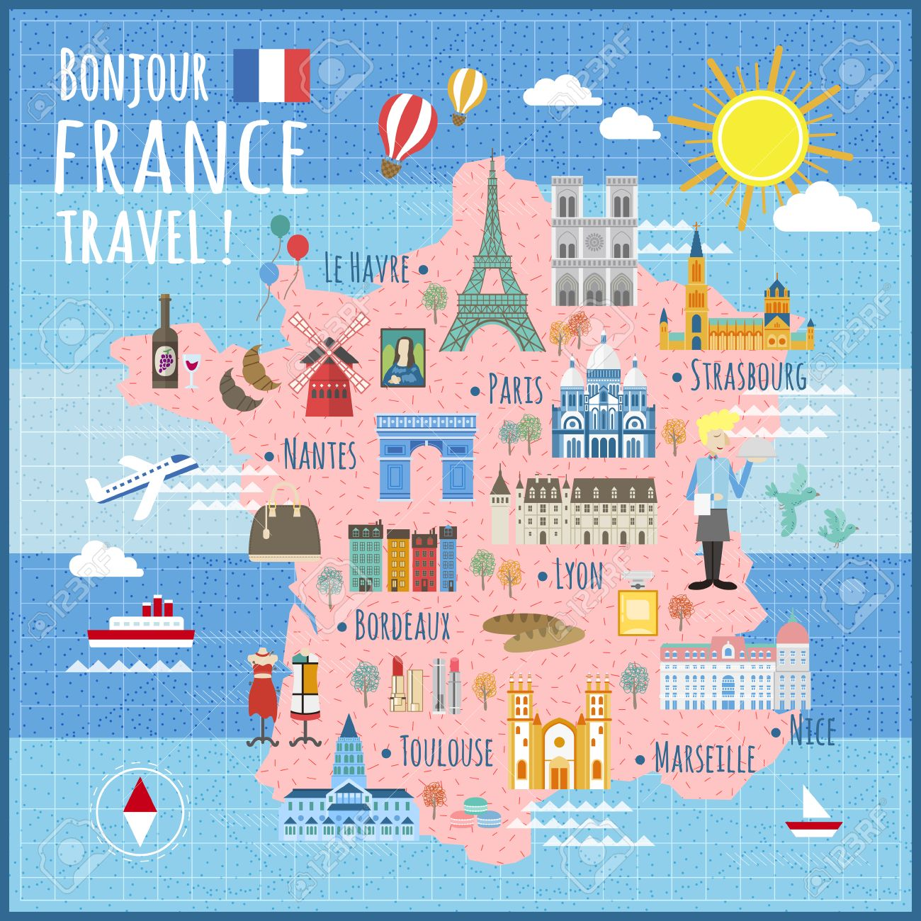 Cartina Della Francia Con Monumenti.Vettoriale Attraente Francia Mappa Con Attrazioni E Specialita Image 53715753