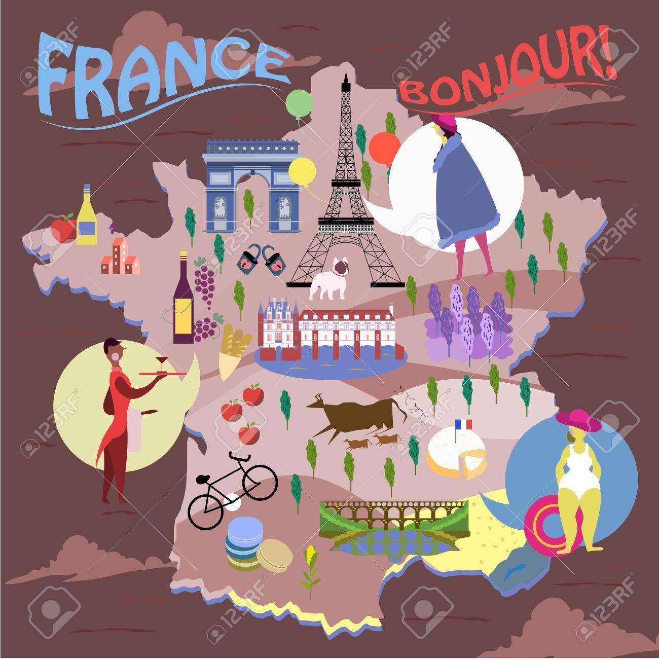 Mapa Turistico De Francia.Elegante Mapa De Francia Con Lugares De Interes Turistico