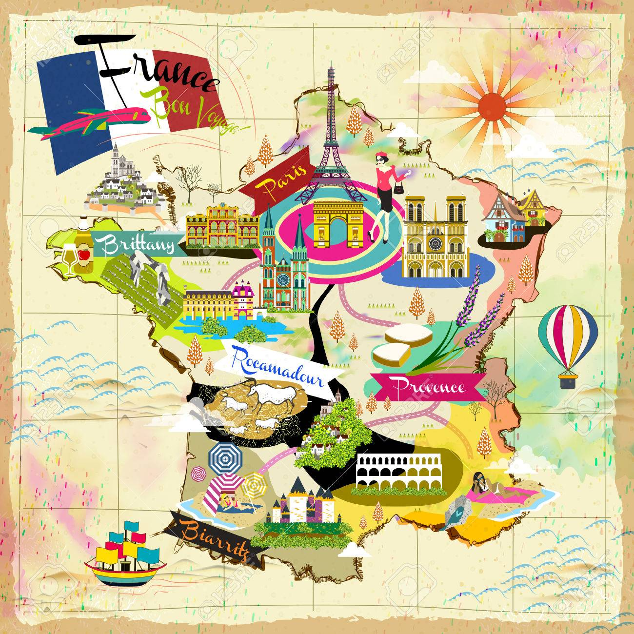 Map Of France Tourist Attractions.Lovely France Travel Map With Attraction Symbols