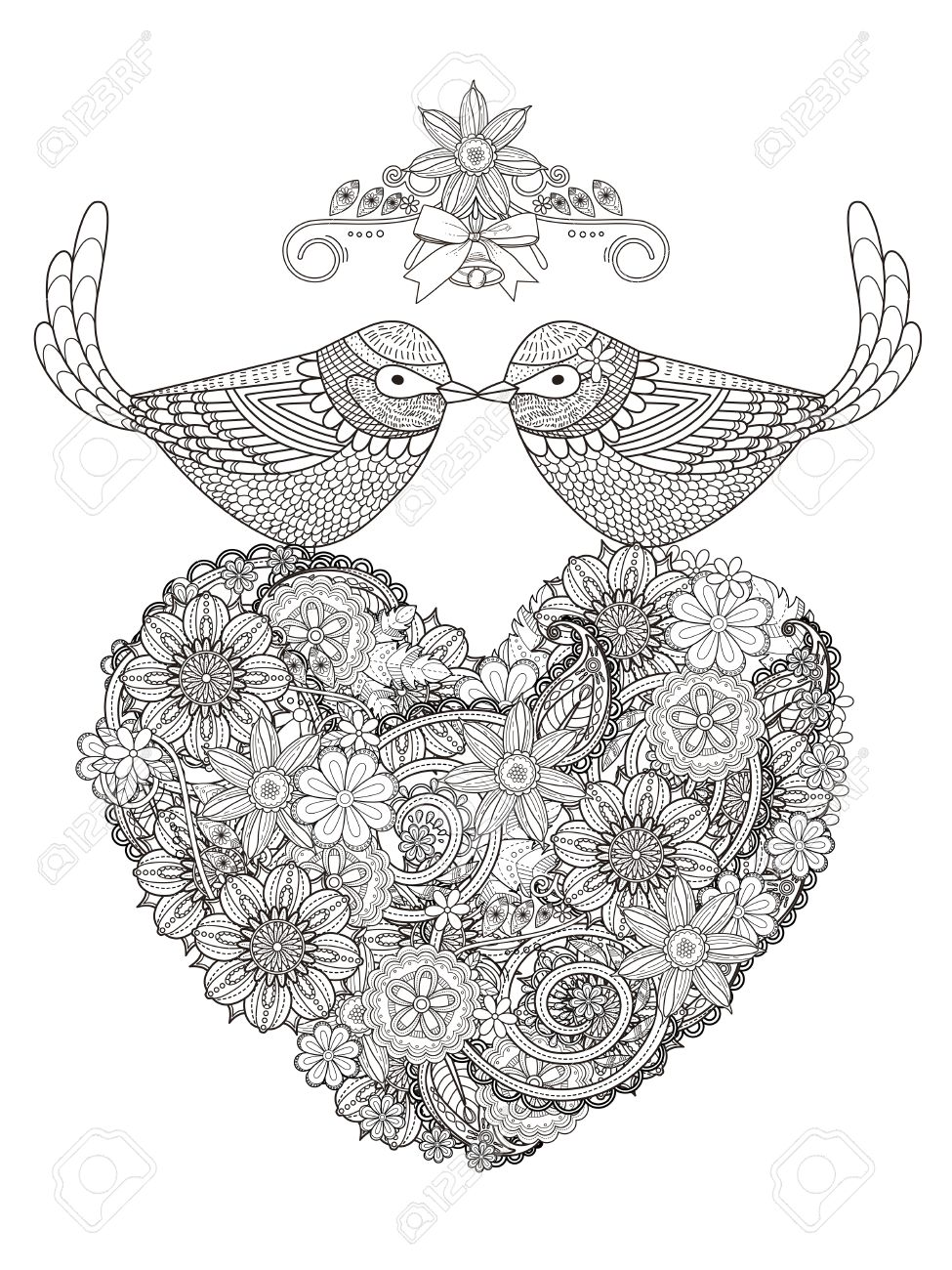 Romantische Vögel Paar Mit Herz Geformt Blume - Erwachsene ...