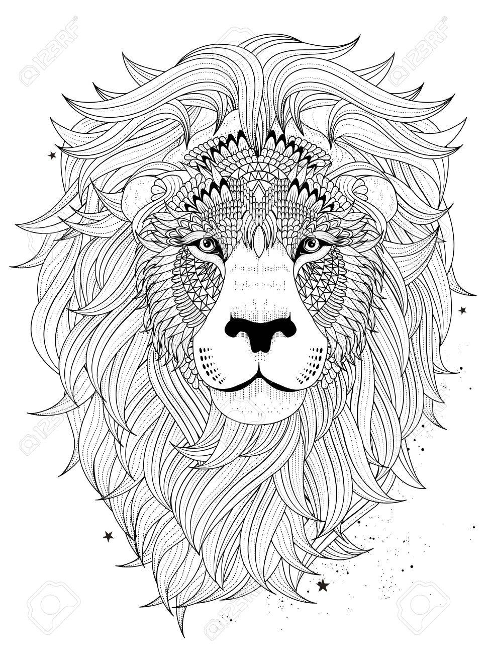 Lion head coloring pages - Vector Attractive Fluffy Lion Head Adult Coloring Page