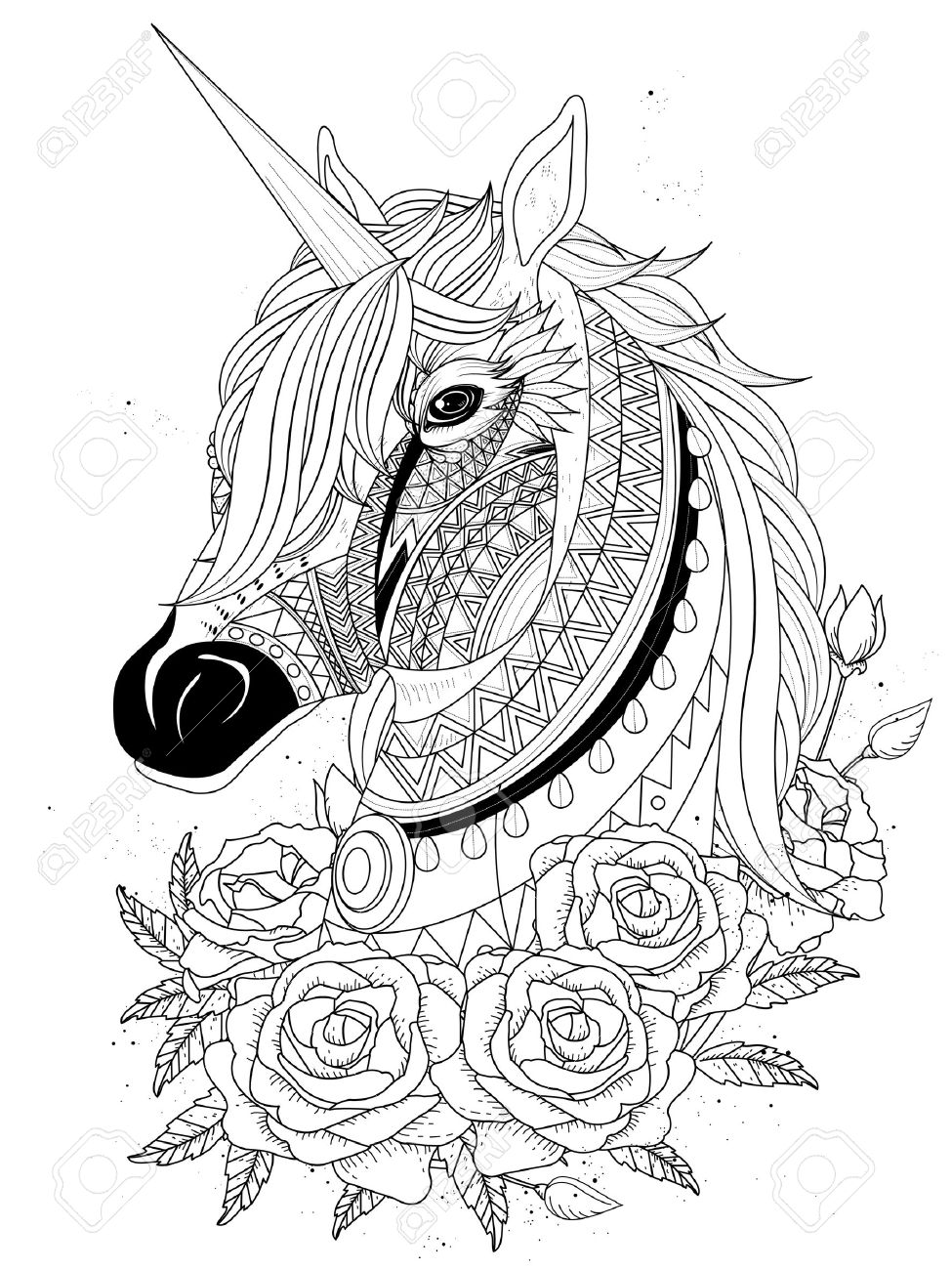 Sacred unicorn with roses adult coloring page stock vector 54051570