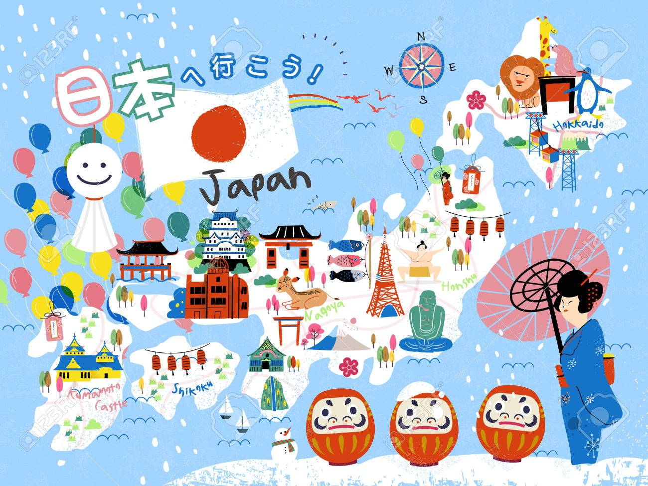 colorful japan travel map let s go to japan in japanese on