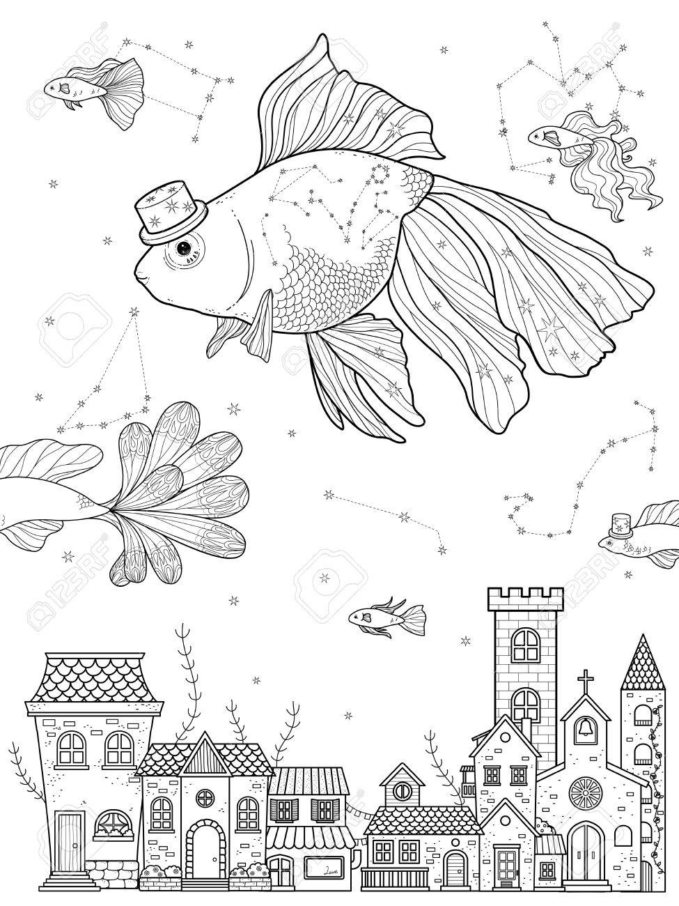 Fancy Goldfish Float Upon Starry Night - Adult Coloring Page Royalty ...