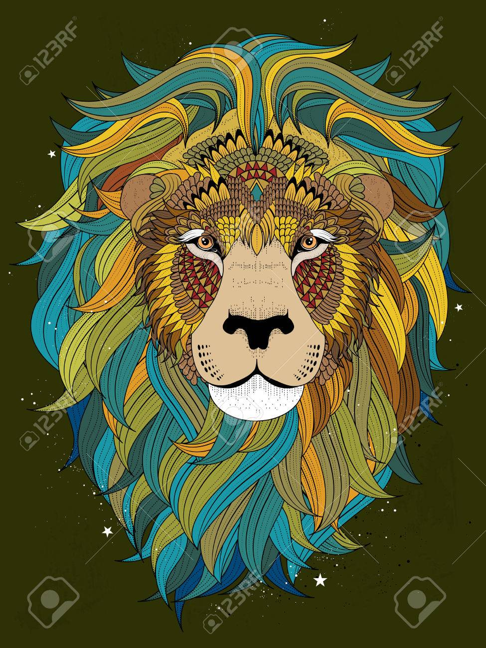 Lion Head Coloring Pages For Adults. attractive fluffy lion head  adult coloring page Stock Vector 54051587 Attractive Fluffy Lion Head Adult Coloring Page Royalty Free