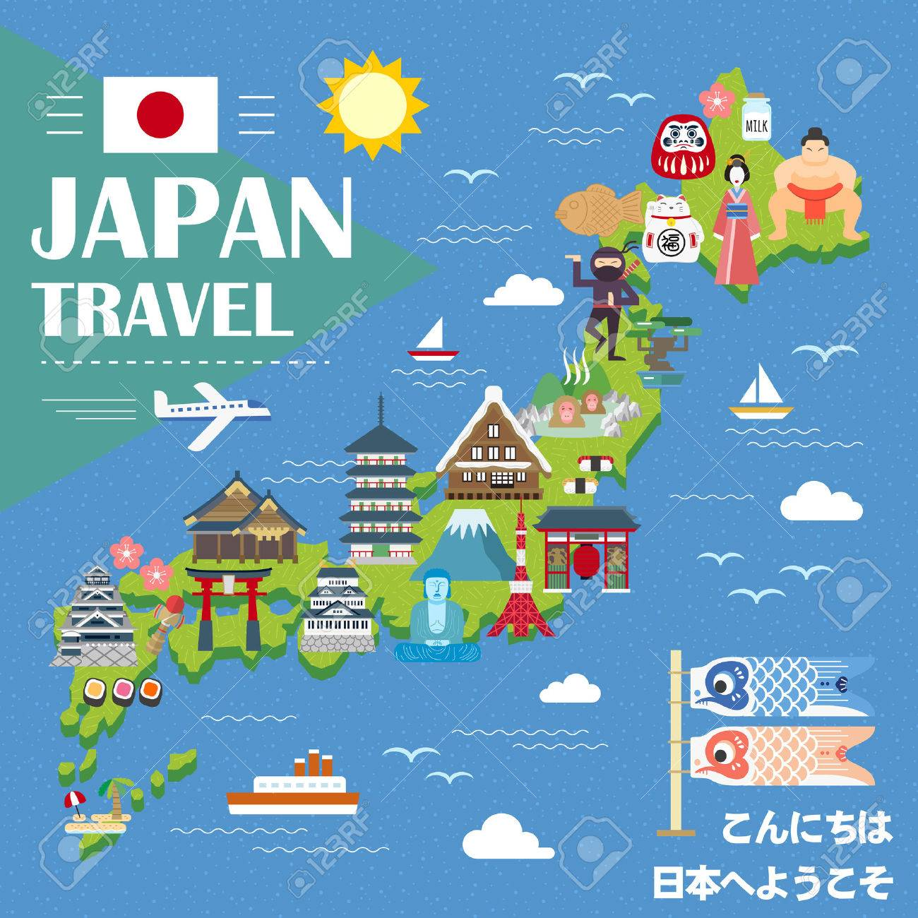 Lovely Japan Travel Map Hello And Welcome To Japan In Japanese Royalty Free Cliparts Vectors And Stock Illustration Image 54693108