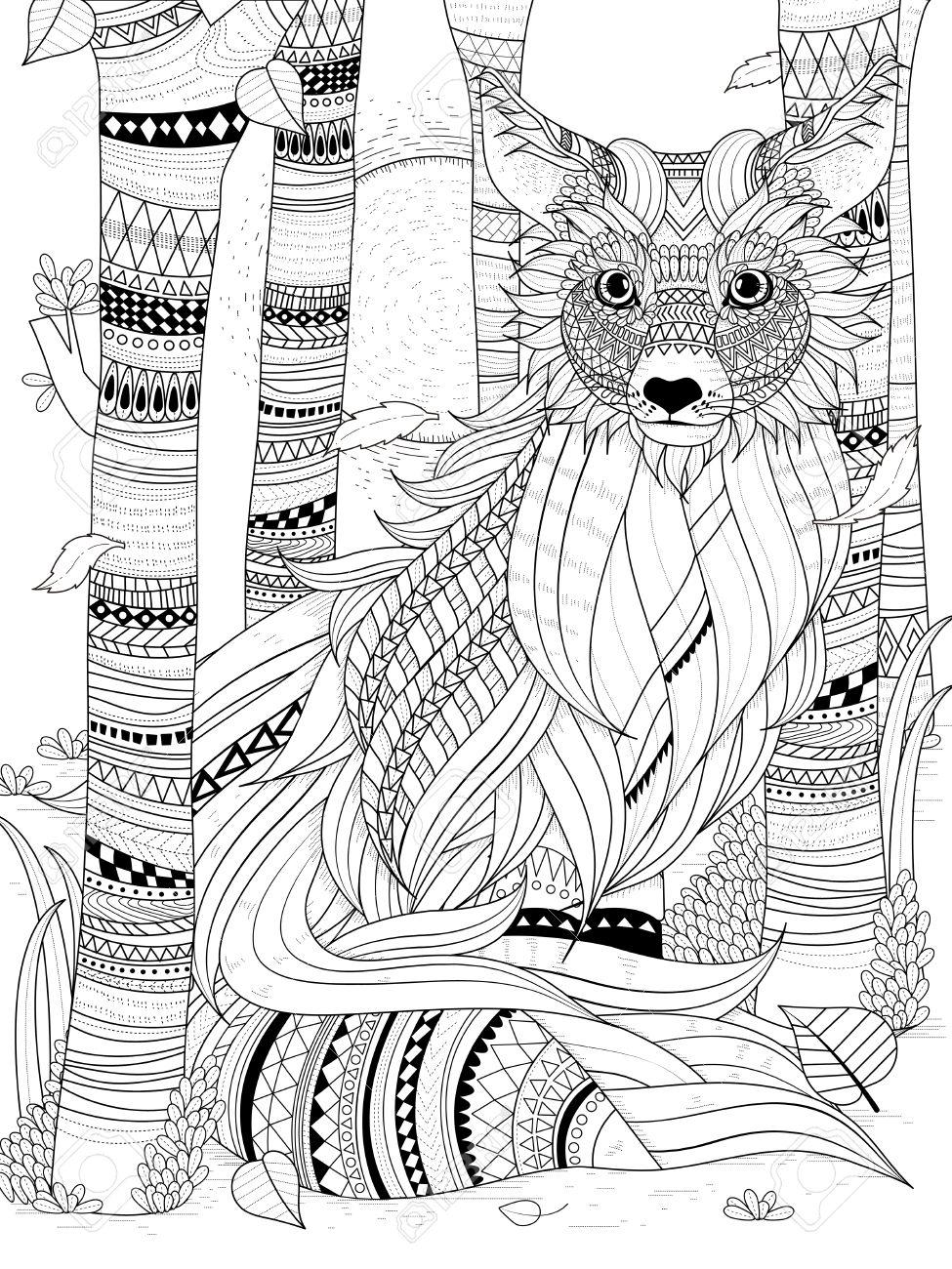 Coloriage Adulte Foret.Fox Pelucheux Dans La Foret Coloriage Adulte