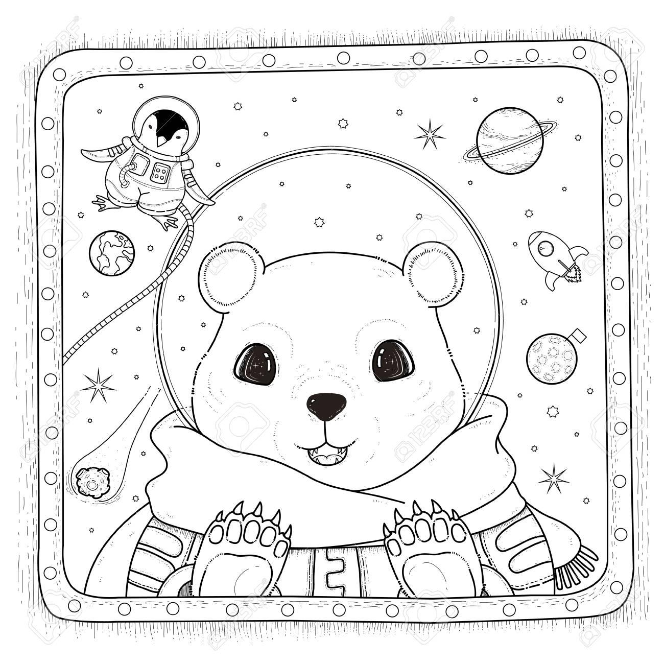 Adorable Eisbär Astronaut - Adult Malvorlagen Lizenzfrei Nutzbare ...