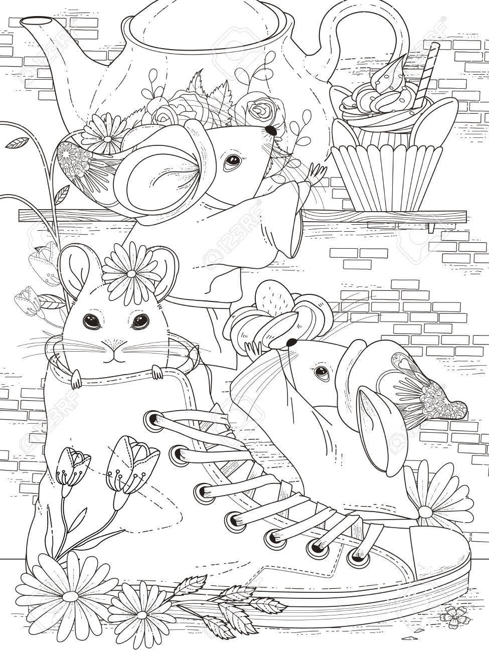 Schöne Erwachsene Malvorlagen - Nachmittags Tee-Party Für Mäuse ...