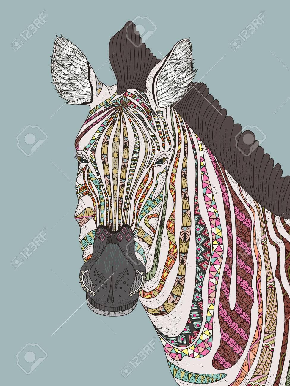 Mode Für Erwachsene Malvorlagen - Zebra Mit Attraktiven Streifen ...
