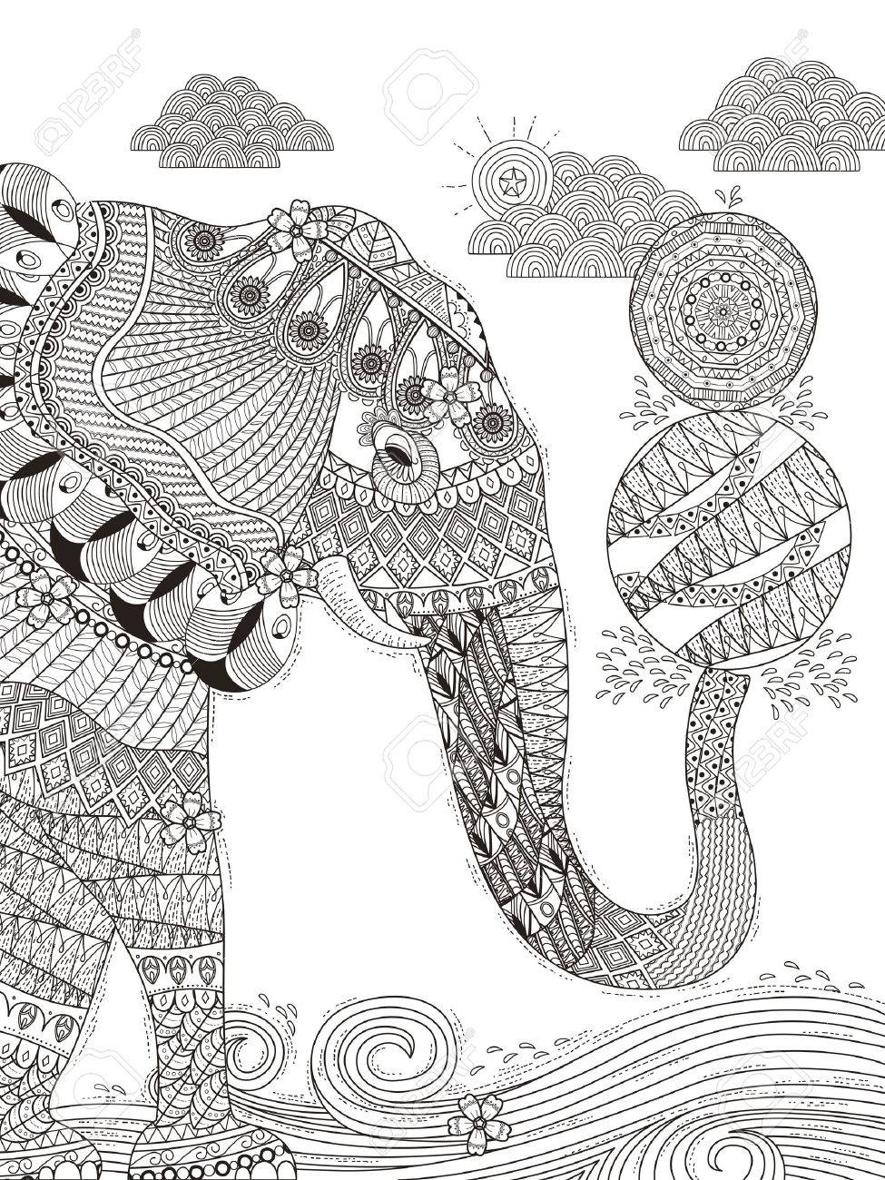 Herrlich Erwachsenen Malvorlagen Elefant Spielt Bälle Mit Seinem
