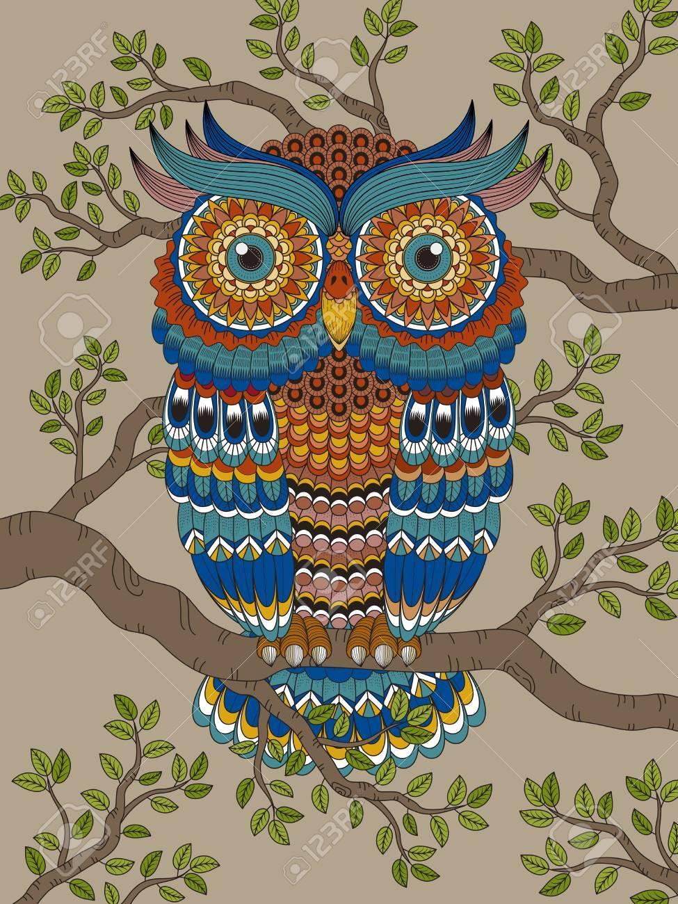 Colorear Adultos Con Un Precioso Búho En El árbol