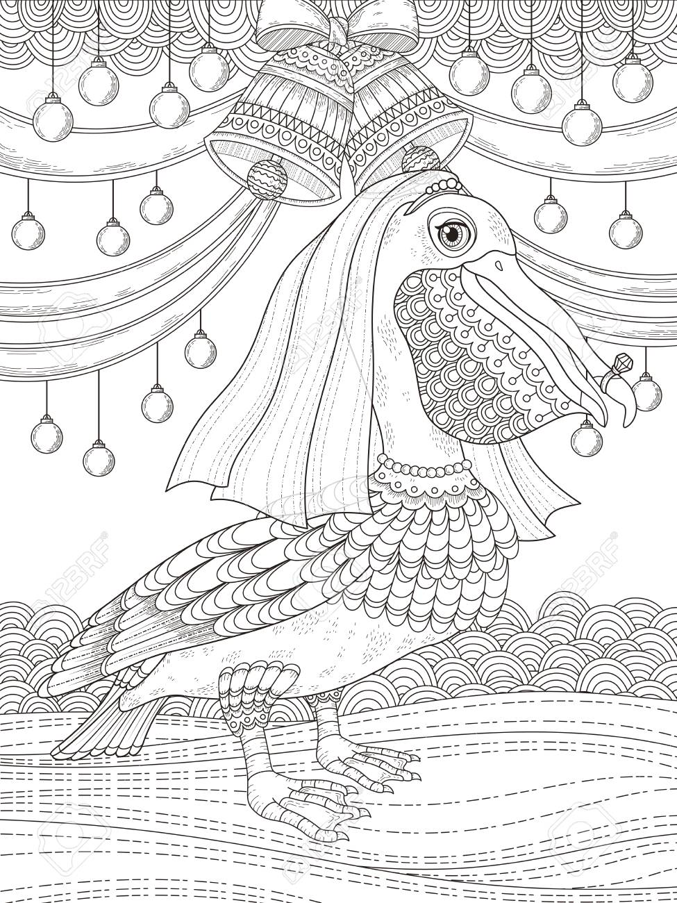 Adult Coloring Page With Lovely Bride Pelican Stock Vector   55905256