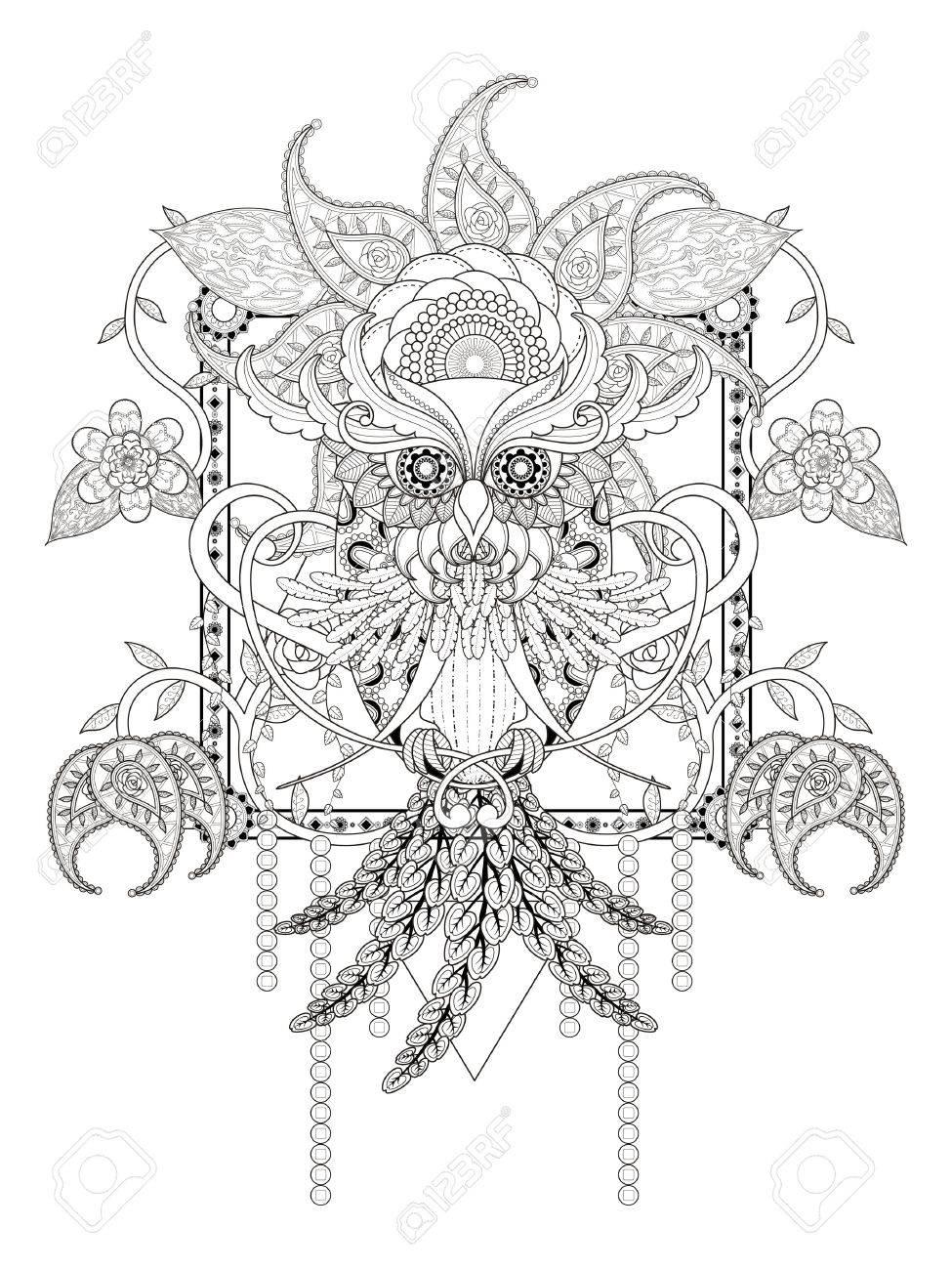 花の要素を持つ神秘的なフクロウ大人ぬりえのイラスト素材ベクタ