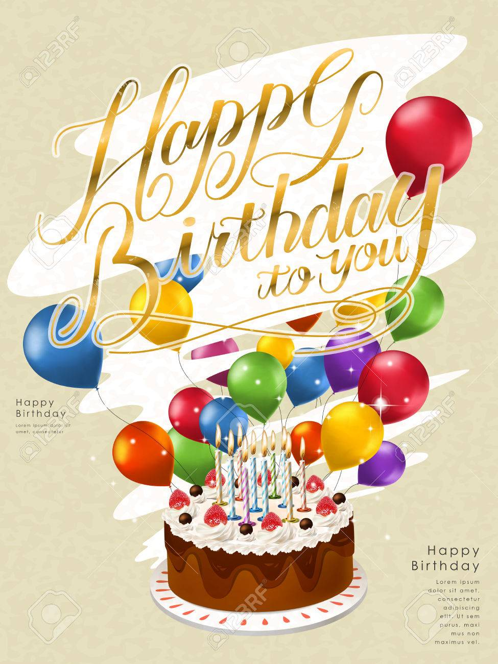 happy birthday poster template design with lovely cake and balloons