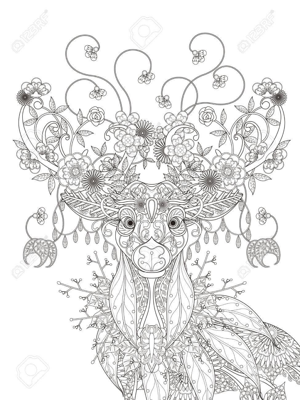大人ぬりえページ 抽象的な魅力的な花鹿のイラスト素材ベクタ