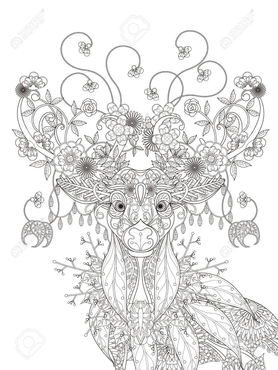 Adult Coloring Page - Abstract Attractive Floral Deer Royalty Free ...