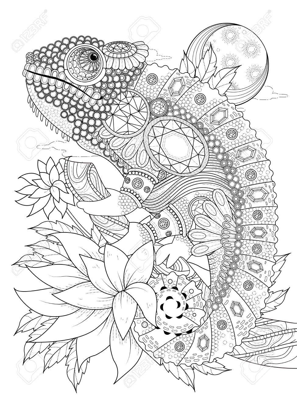 大人ぬりえページ 宝石で飾られたカメレオンのイラスト素材ベクタ