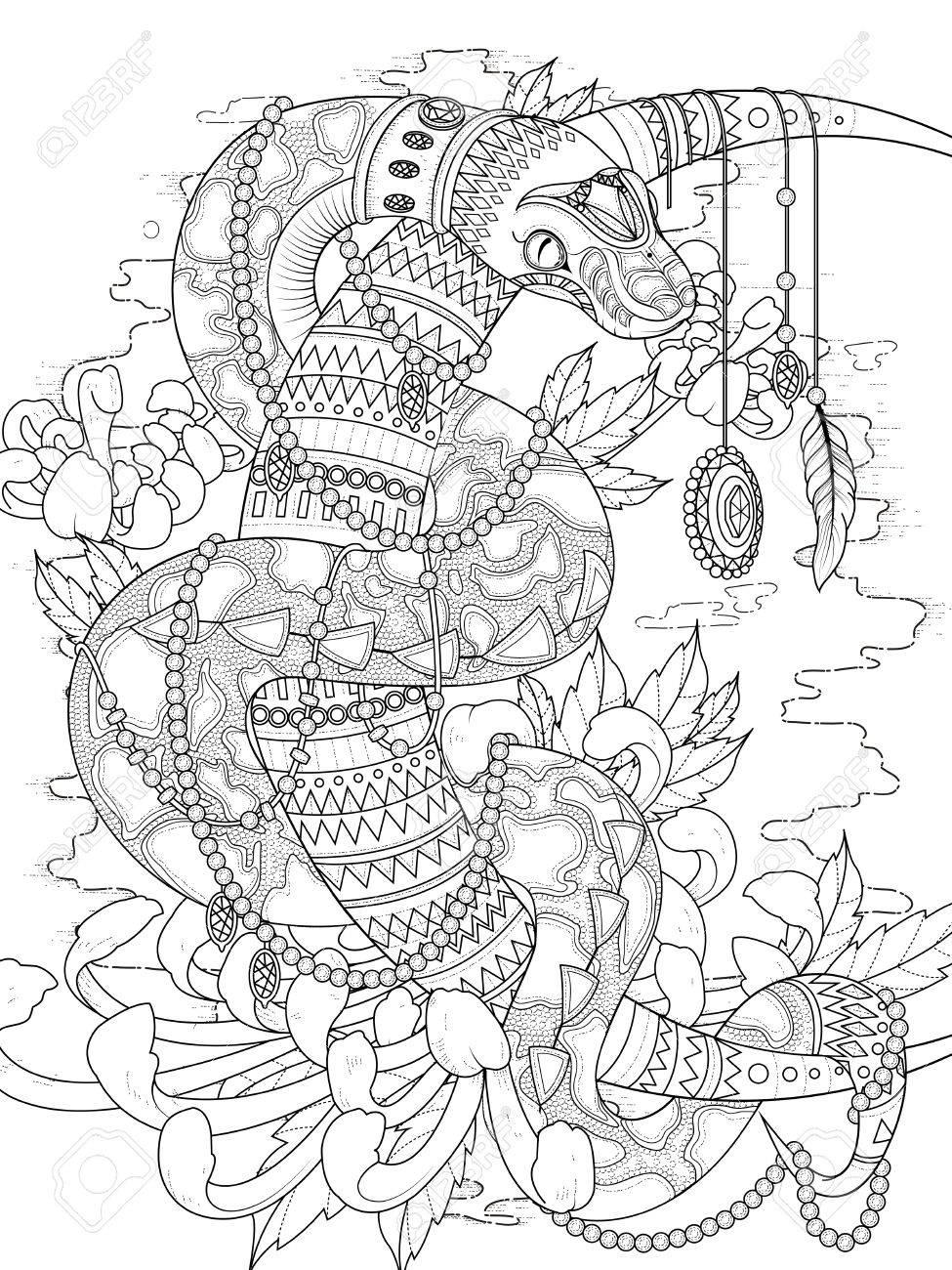 大人ぬりえページ ジュエリーと Higanbana の謎の蛇のイラスト素材
