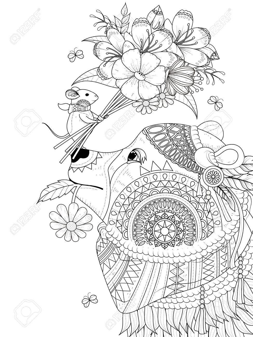 大人ぬりえページ 小さな友人とクマのイラスト素材ベクタ Image