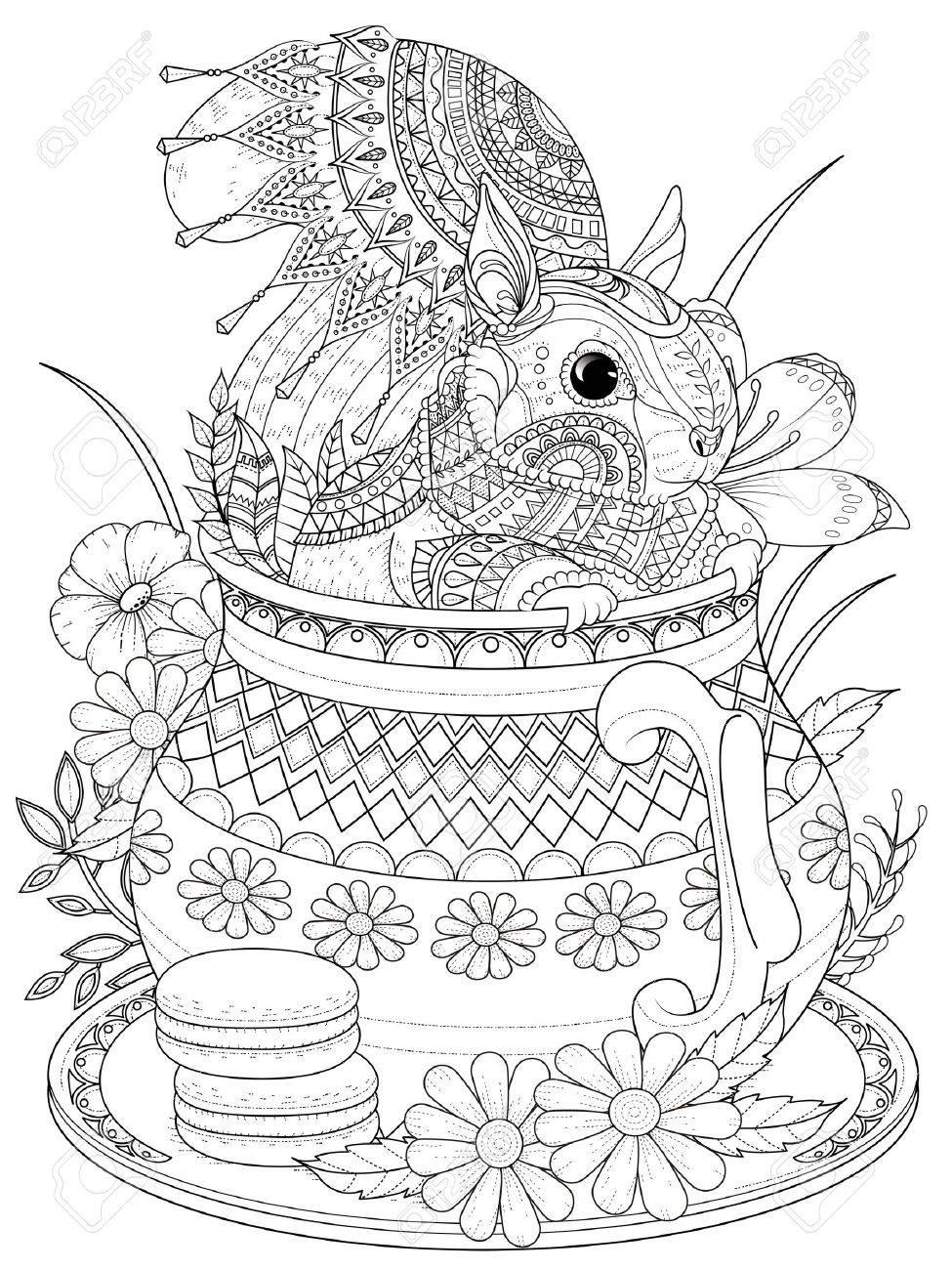 大人ぬりえページ ティーポットの愛らしいリスのイラスト素材ベクタ