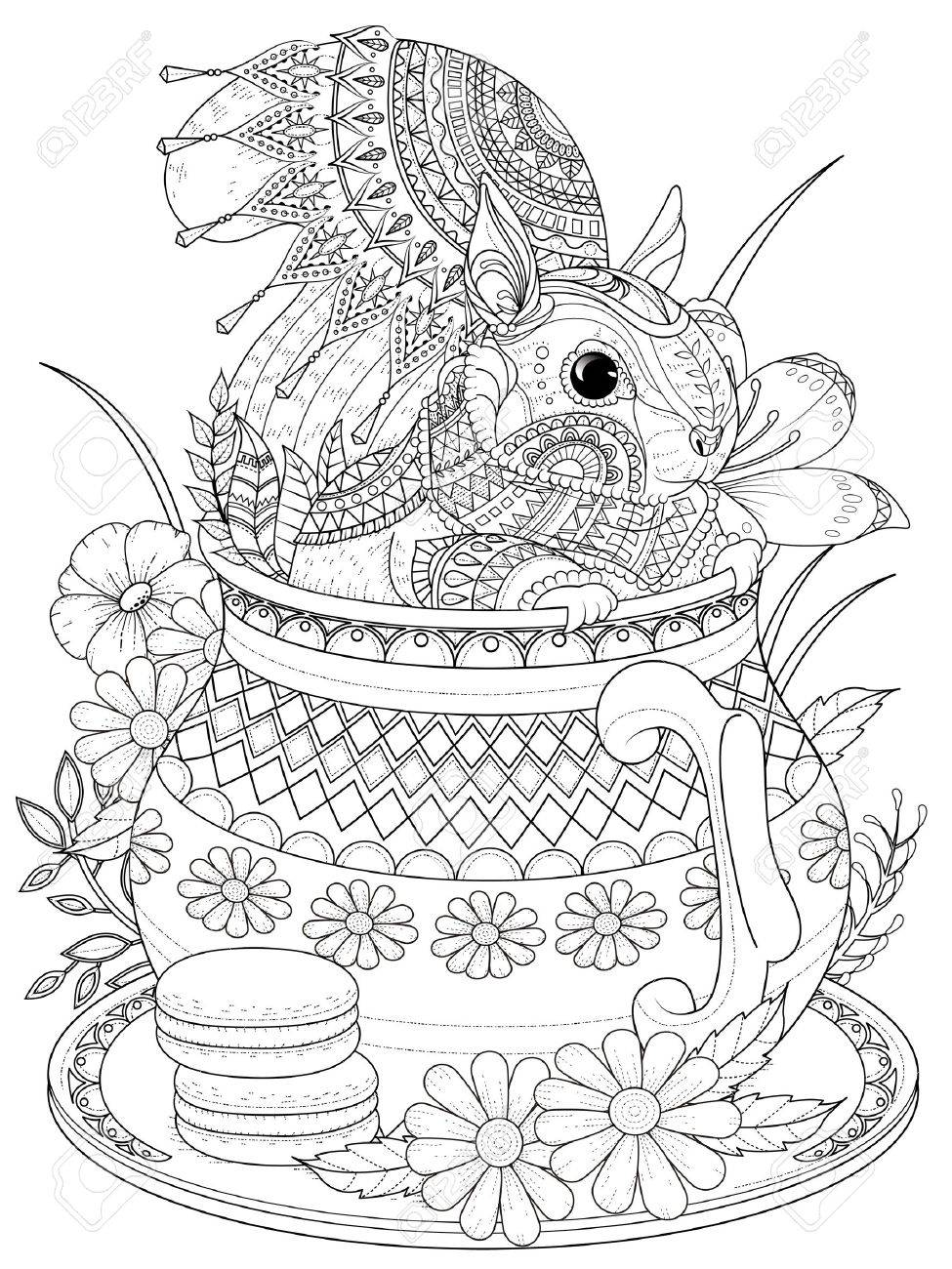 banque dimages coloriage adulte cureuil adorable dans une thire