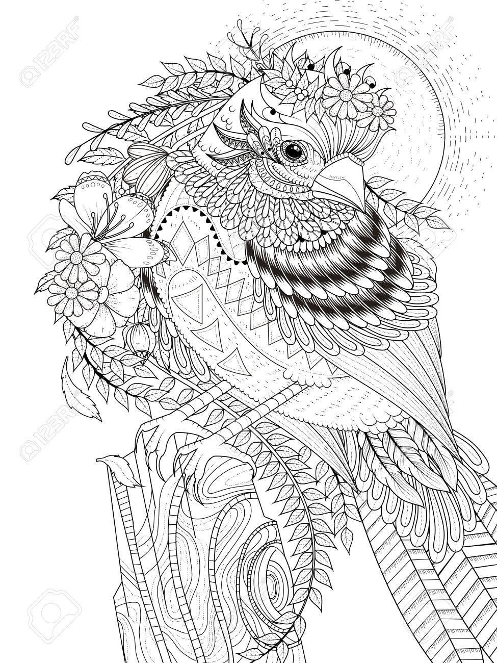 大人ぬりえページ 花の美しいスズメのイラスト素材ベクタ Image