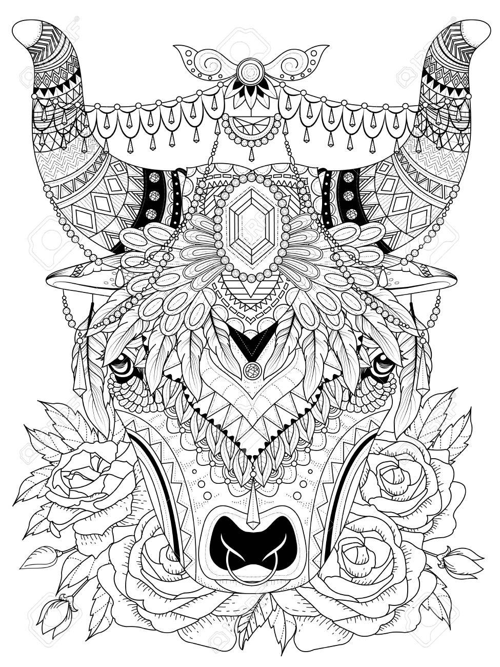 Coloring pages yak - Free Coloring Pages Yak Vector Adult Coloring Page Yak With His Splendid Headwear