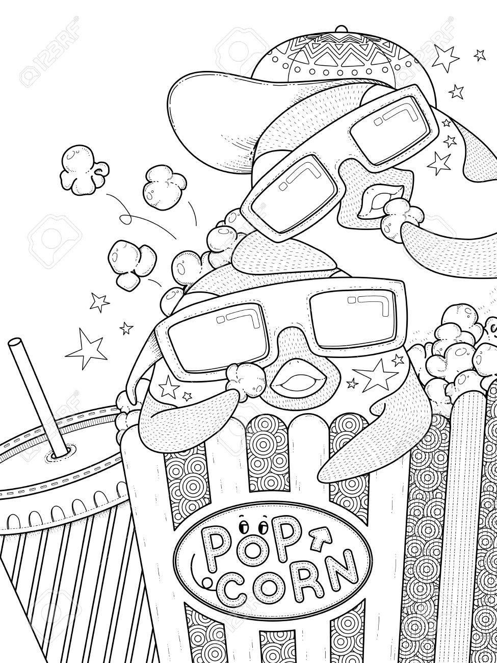 Schattige Tekeningen Popcorn Coloring And Drawing