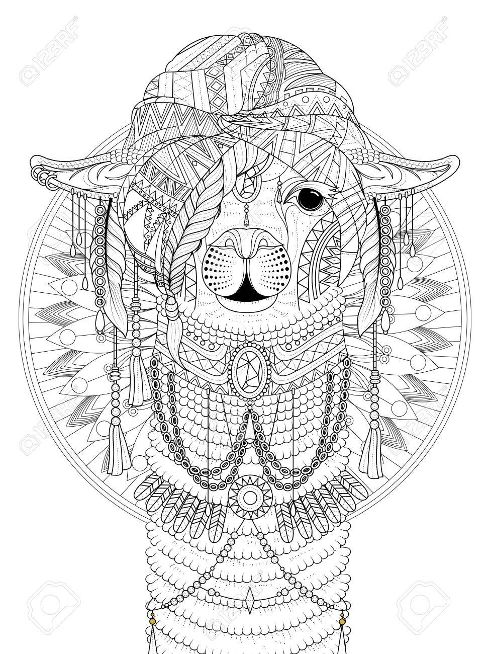 adult coloring page alpaca with splendid headwear royalty free cliparts vectors and stock illustration image 56914087 123rf com
